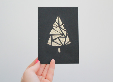 Day Eight | DIY Papercut Glittery Tree Card | 12 days of Christmas crafts