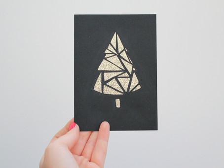 DIY Papercut Glittery Tree Card | 12 days of Christmas crafts