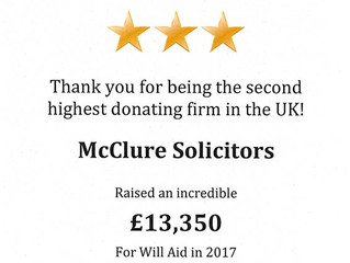 McClure Solicitors - Will Aid's second highest donating firm in the UK