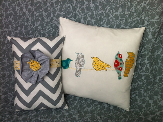 modern birdies on a wire pillow set