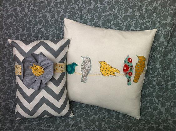 modern birdies on a wire pillow set