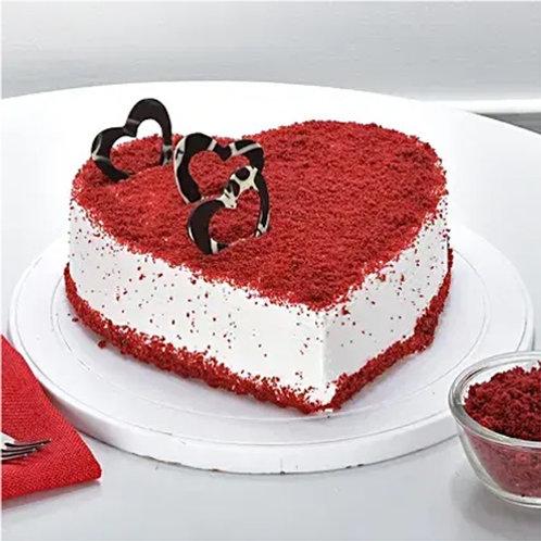 Red Velvet Heart Shape Cake Half Kg