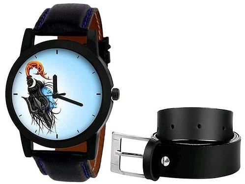Shiva Printed Watch and Belt Combo