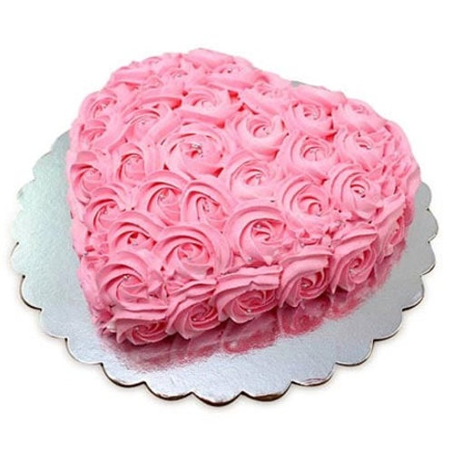 Pink Heart Shape Rose Cake