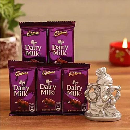 Ganesha in Pagdi and Chocolates Combo