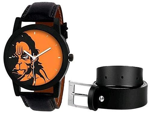 Hanuman Printed Watch and Belt Combo