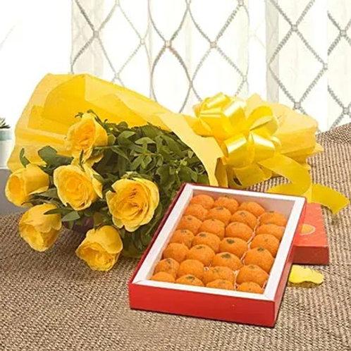 Yellow Roses and Motichoor Laddoo