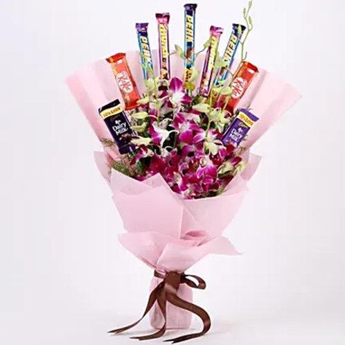 Purple Orchids & Chocolate Bouquet