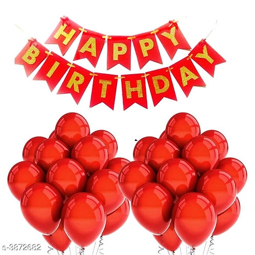 Birthday Balloons and Banner-Red