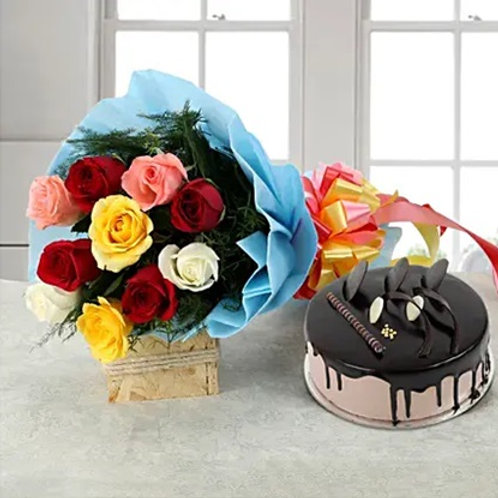 Colourful Flowers and Chocolate Cake Combo
