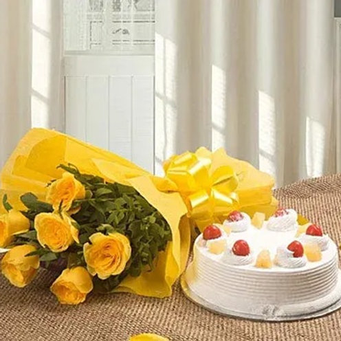 Surprising Cake and Flowers Combo