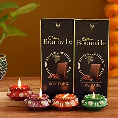 Bournville Chocolates and Diyas Combo