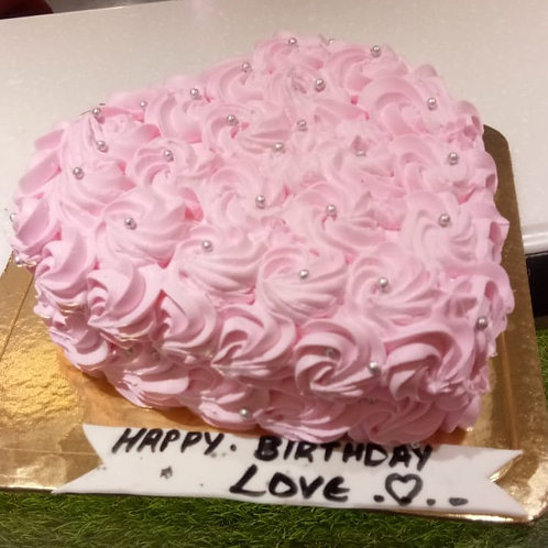 Pink Heart Shape Rose Cake