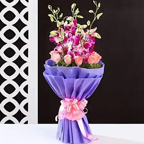 Purple and Pink Flowers Bouquet
