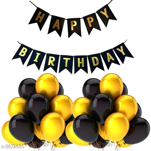 Birthday Banner and Ballons - Black and Golden