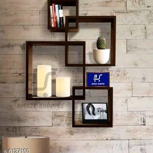 Black Wooden Wall Shelf