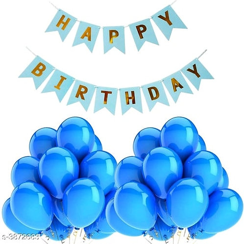 Trendy Birthday Banner and Balloons Blue