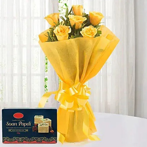 Yellow Roses and Sweets Combo