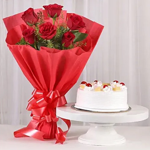 Red Roses and Pineapple Cake