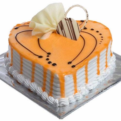 Heart Shape Butterscotch Cake Half Kg