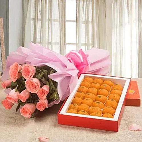 Pink Roses and Motichoor Laddoo