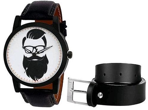 Beard Man Printed Watch and Belt Combo