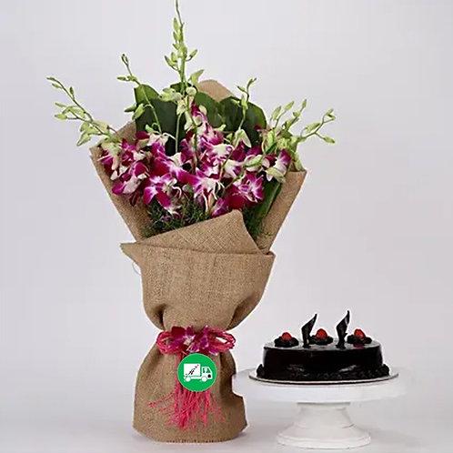 Purple Orchid And Truffle Cake Hamper