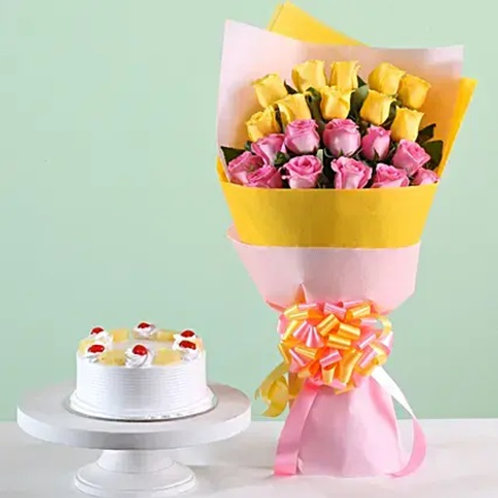 Beautiful Roses and Pineapple Cake Combo