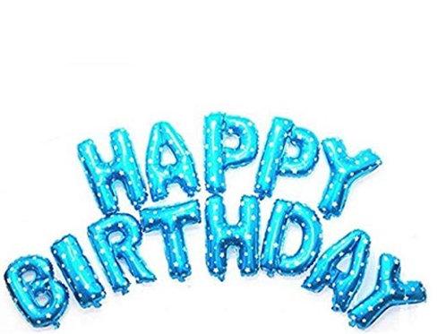 Blue Foil Letter Birthday Balloons
