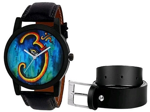 Men Wrist Watch and Belt Combo
