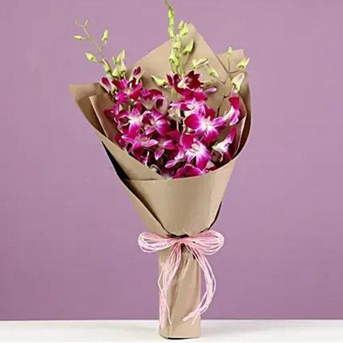 6 Purple Orchids Bouquet
