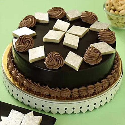 Chocolate Cake with Kaju Katli
