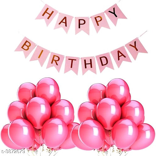 Birthday Balloons and Banner-Pink