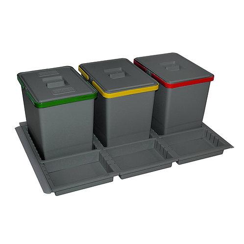 Cubo de basura M-90 3 recipientes antracita con bandeja