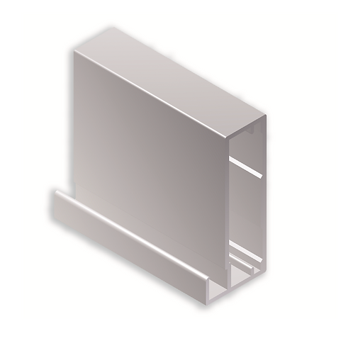 Perfil vitrina 45x20x8 Ref 43C404Plata brillo 3metros