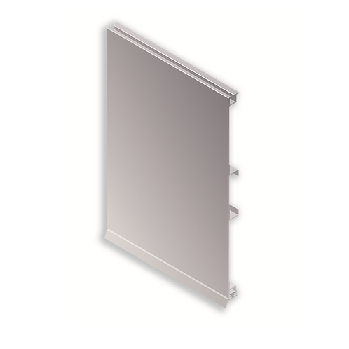 Zócalo aluminio liso con zarpa grande con goma 100 mm Grigio bromo