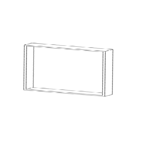 Mueble alto estándar H650xF350xA900 con 1estantede cristal