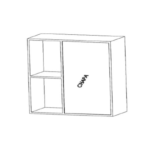 Mueble alto rinconero recto H910xF350xA800con 2estantes de cristal