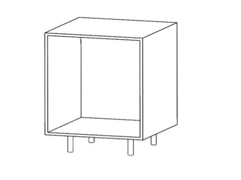 Mueble bajo cacerolero H520xF600xA300sinestante de cristal