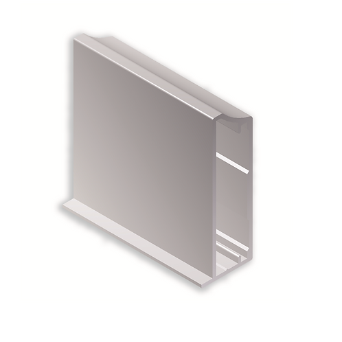 Perfil vitrina 51x20 sin pestañaref 43C415Plata brillo 3metros