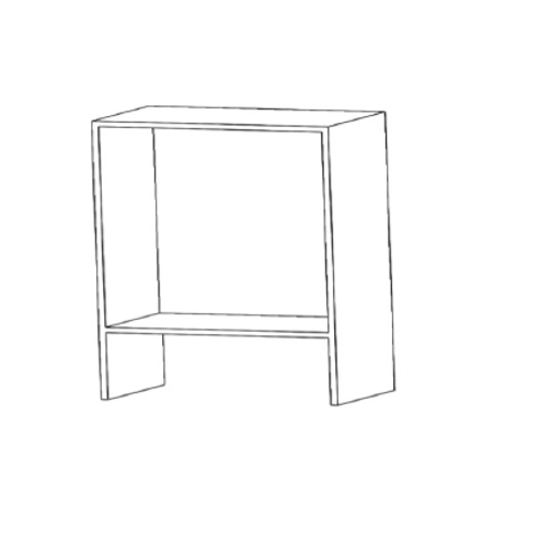 Mueble alto campana H700xF350xA600 con 1 estante de cristal