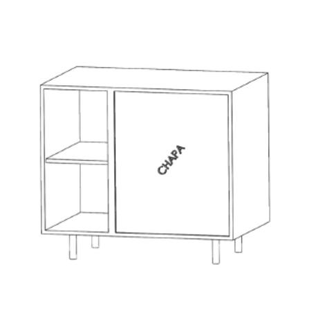 Mueble bajo rinconero - recto H780xF350xA1000con 1estante de cristal