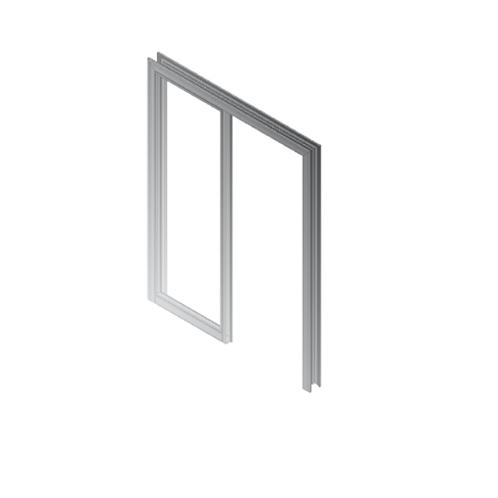 Puerta forro R-06 con fijo lateral plata mate