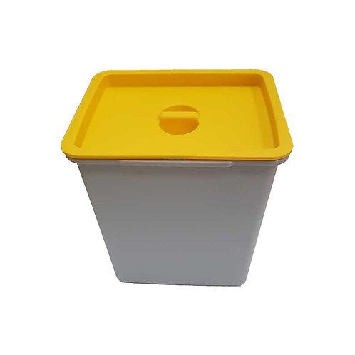 Cubo de basura 8 litros tapa amarilla para bandeja