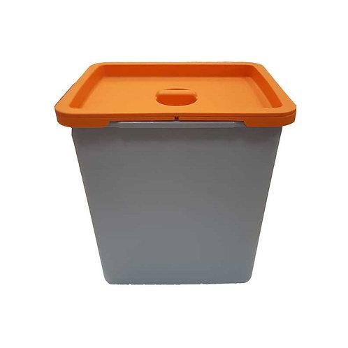 Cubo de basura 8 litros tapa naranja para bandeja