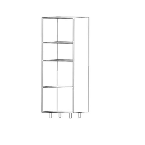 Columna horno-micro H2080xF600xA600 con 2estantes de cristal
