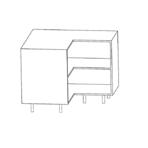 Mueble bajo rinconero - escuadra H780xF600xA1100con 1estante de cristal