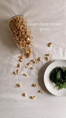 3-Ingredient Creamy Pesto (vegan, gluten free, oil free)