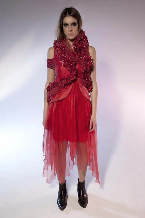 Coral Embroidered Horsehair Silk Twill Gown
