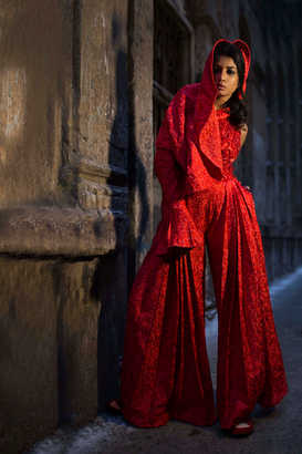 Red Veiled Jumpsuit